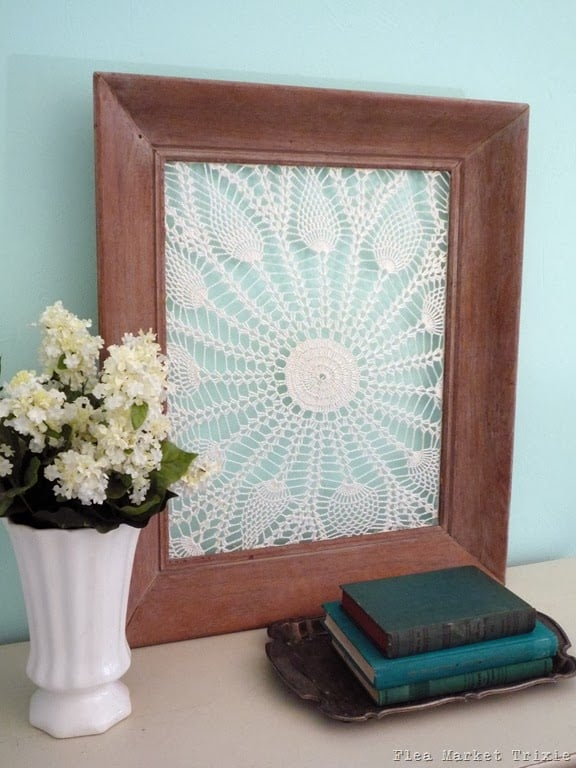 Repurposed vintage doilies and frames