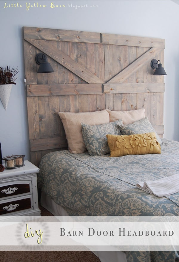 Rustic farmhouse reclaimed barn wood headboard
