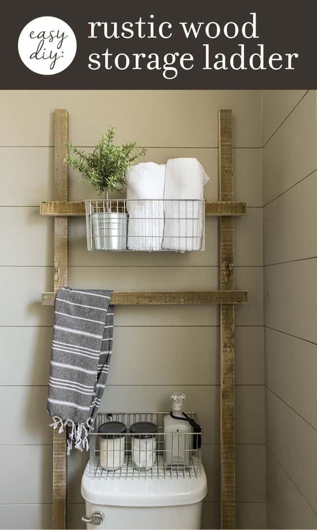 Rustic wood storage ladder