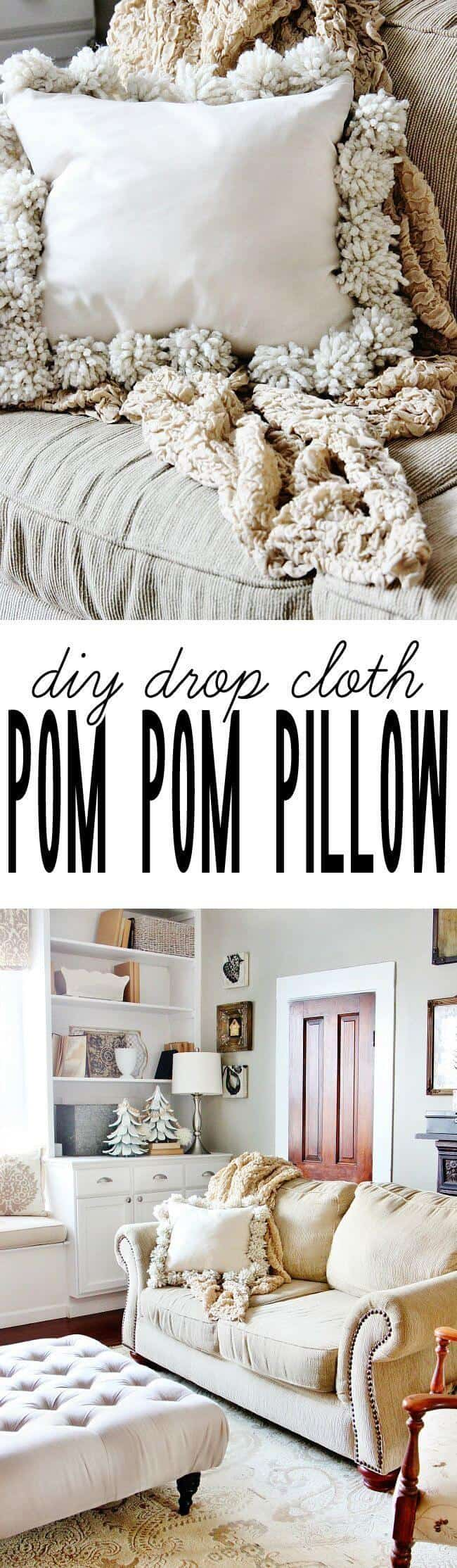 Shabby chic drop cloth pom pom pillow
