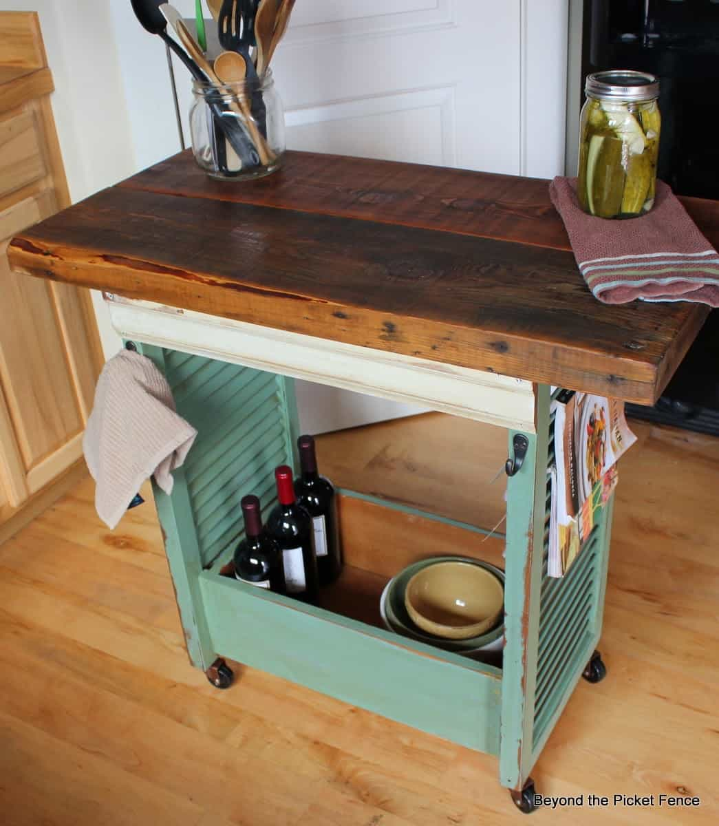 Shutter kitchen island on wheels
