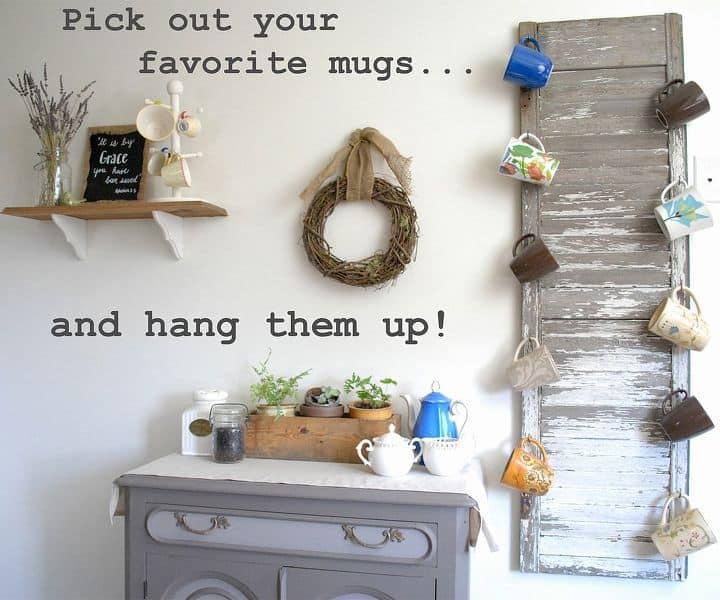 Shutter mug rack