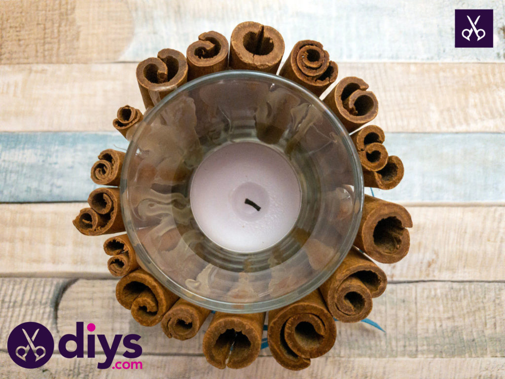 Simple cinnamon stick candle holder