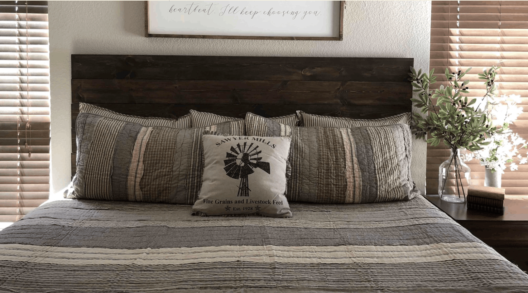 Simple diy rustic stained wood headboard