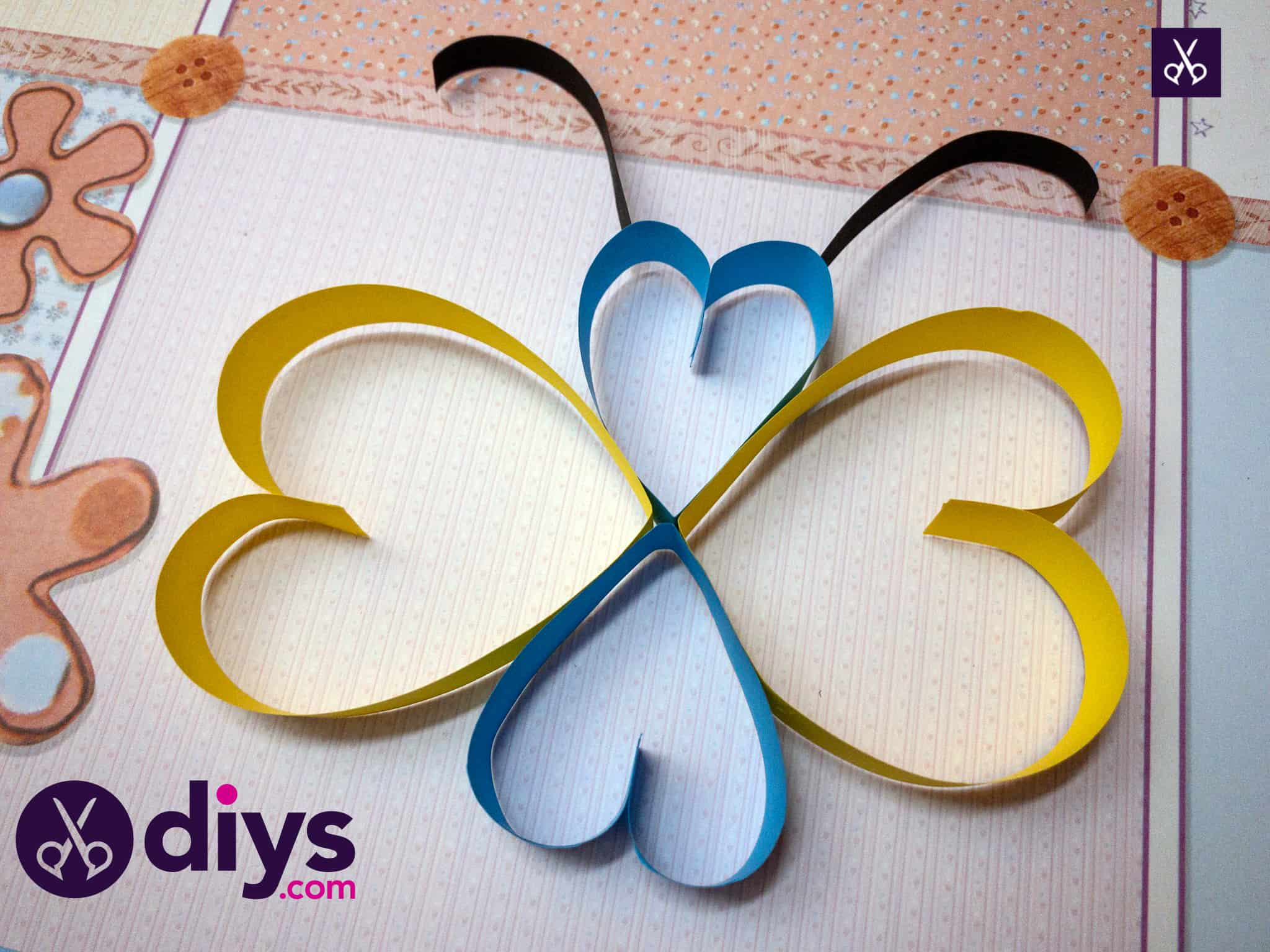 Simple how to make a paper heart butterfly