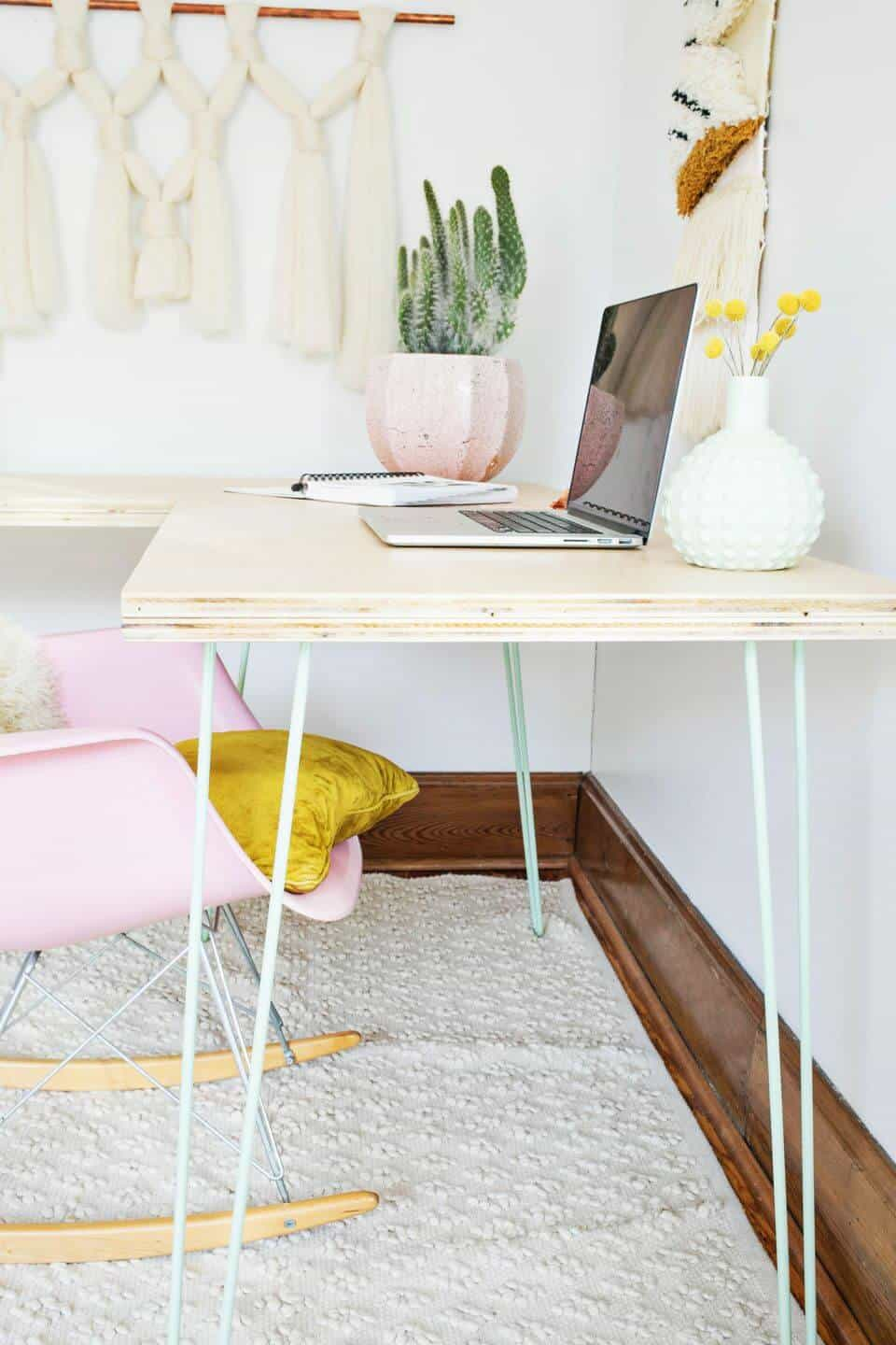 Simple plywood desktop with painted hairpin metal legs
