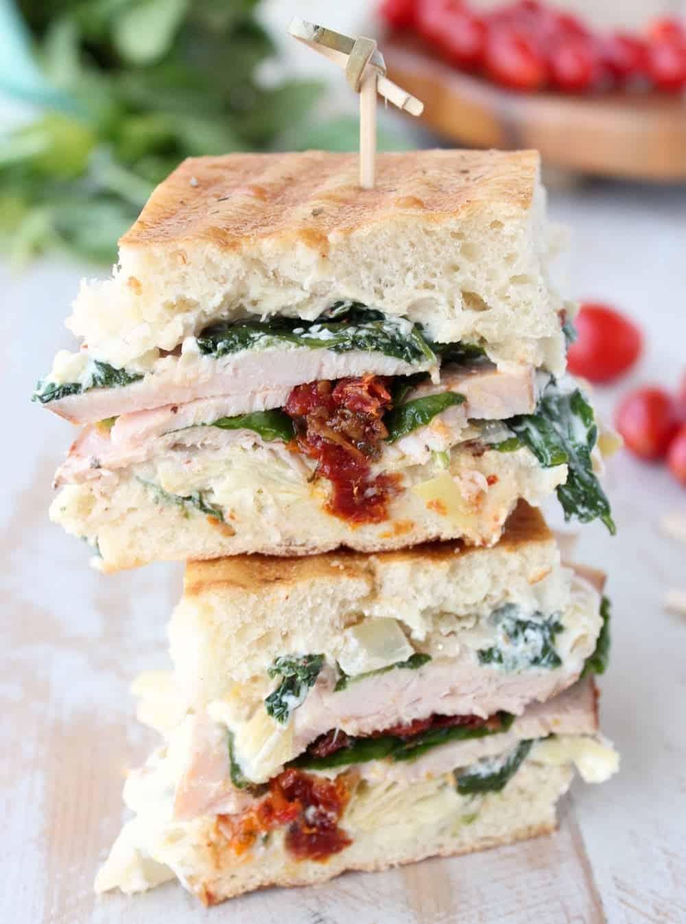 Spinach artichoke turkey panini