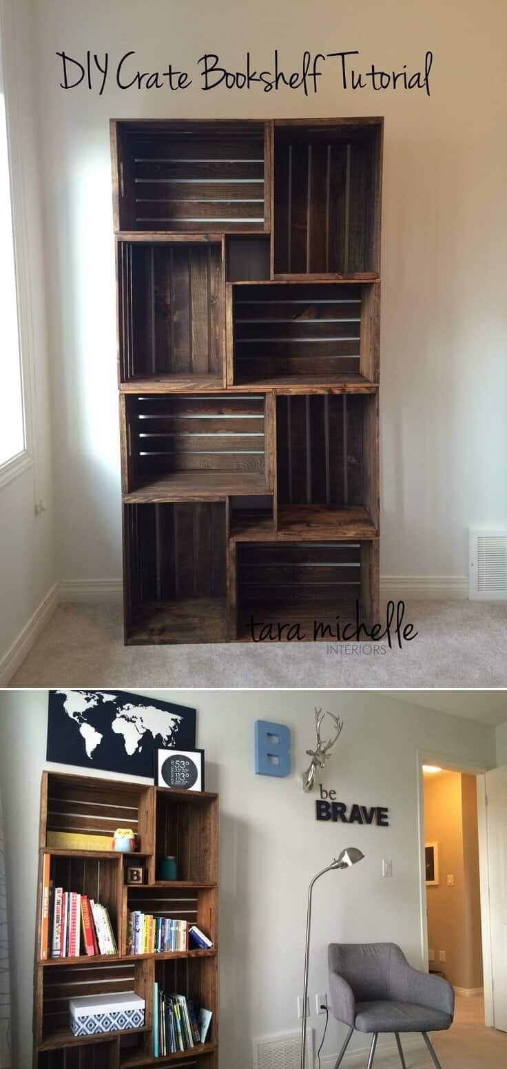 Stacked crate bookshelf