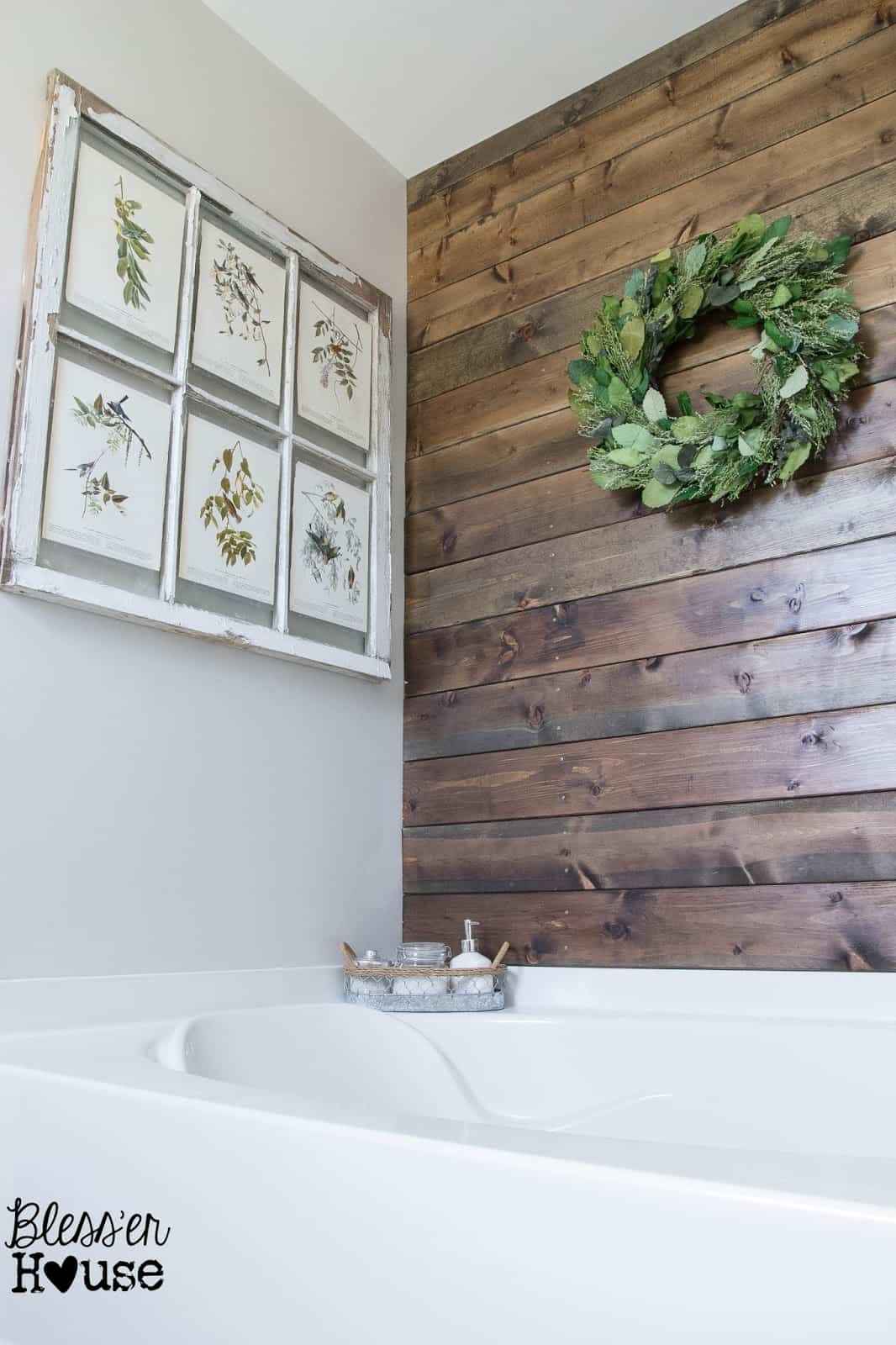 Stained wood bathroom plank wall