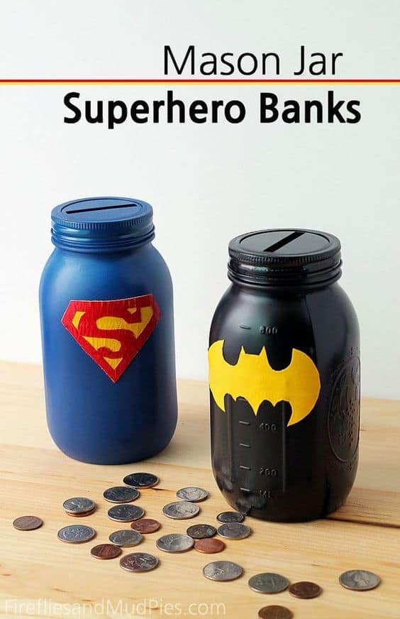 Superhero mason jar banks