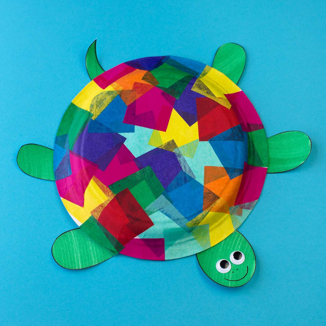 Tissue paper and paper plate turtles