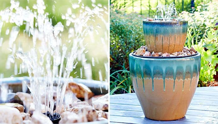 Two tier nested glazed ceramic pots fountain