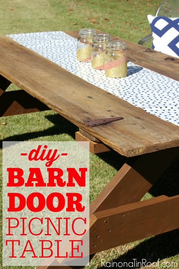 Upcycled barn door picnic table
