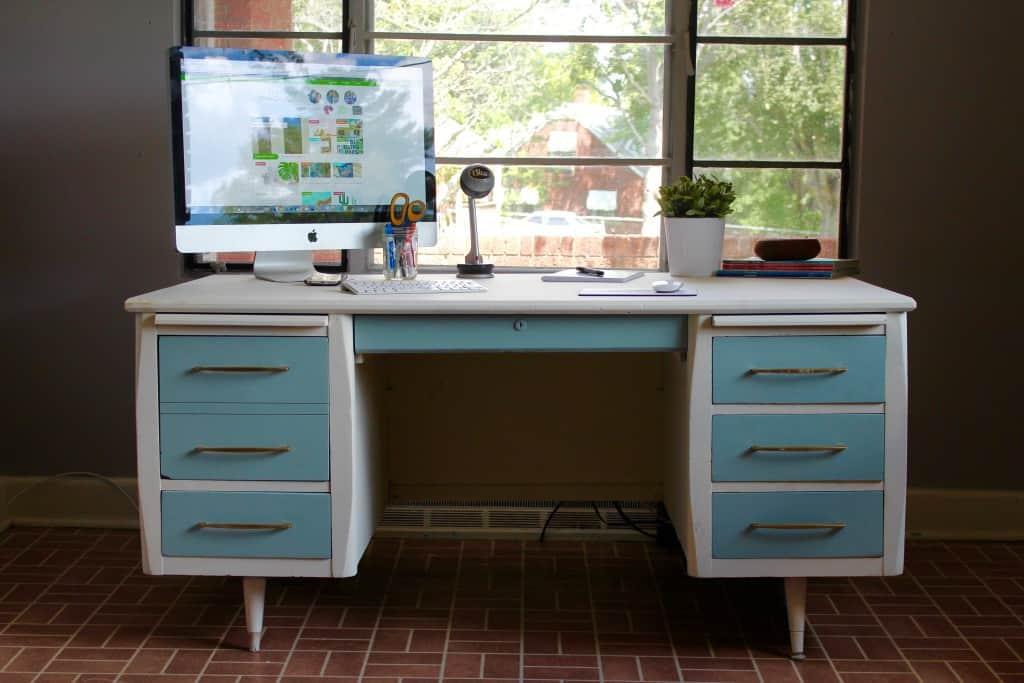 Upcycled vintage mod desk