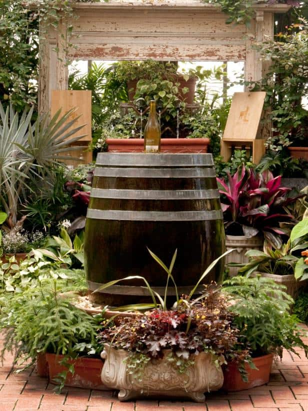 Vineyard inspired wine barrel fountain