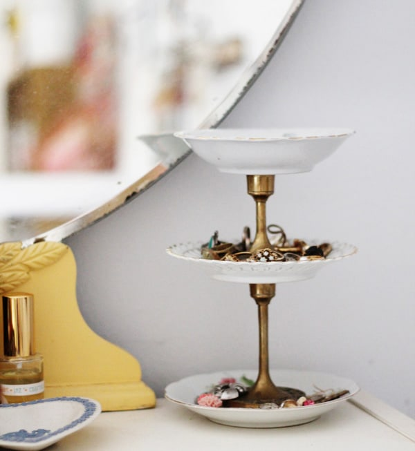 Vintage dish tiered jewelry stand