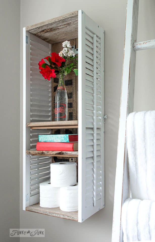 Wall mounted old shutter bathroom shelf
