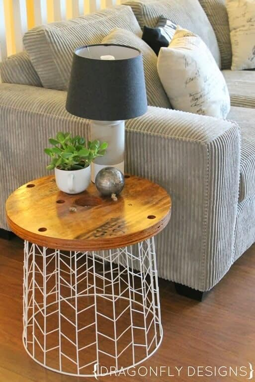 Wire basket and wood side table
