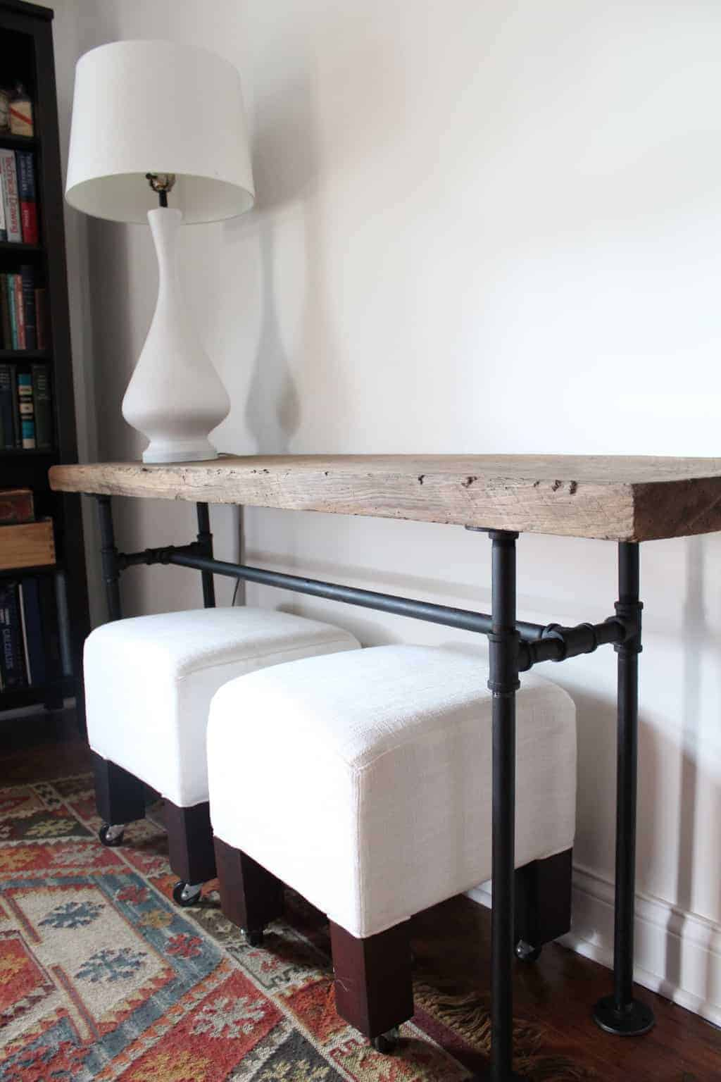 Wood and industrial pipe hairpin leg table