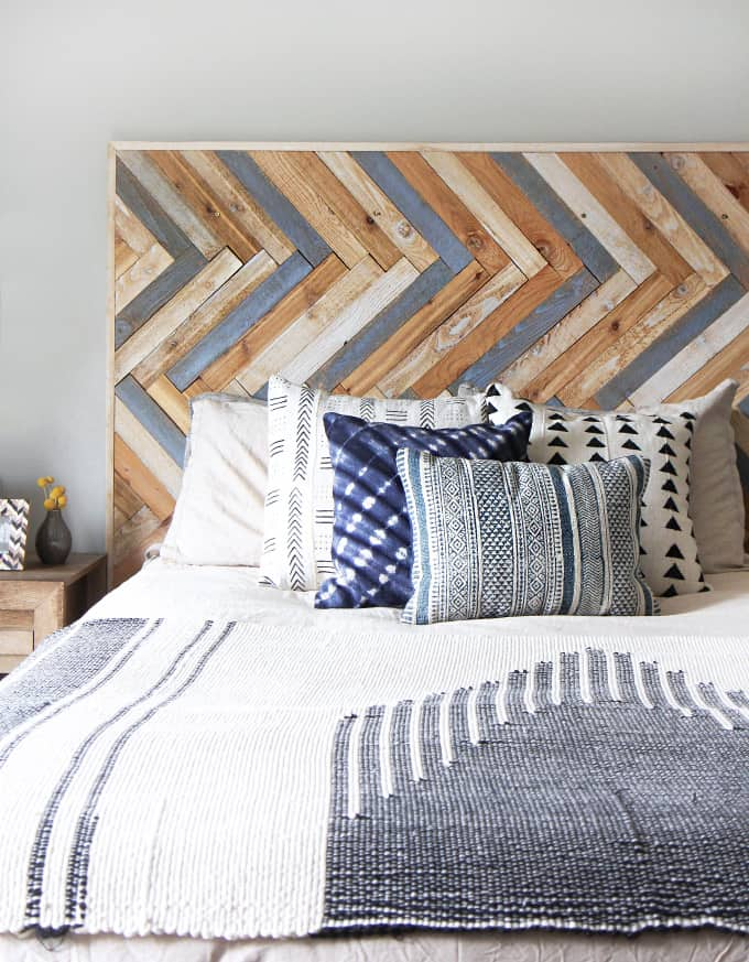 Wooden herringbone headboard