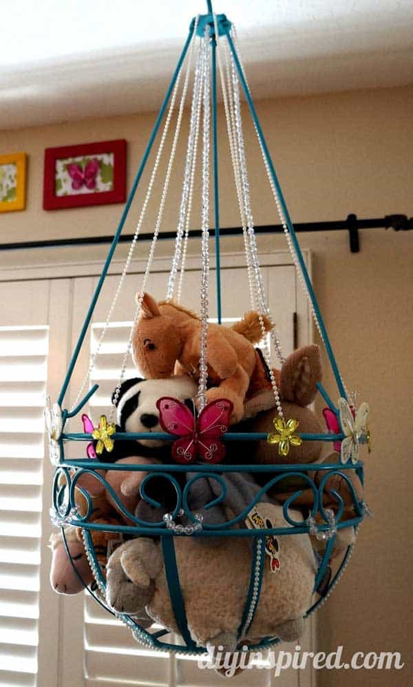 Chandelier stuffed animal storage diy