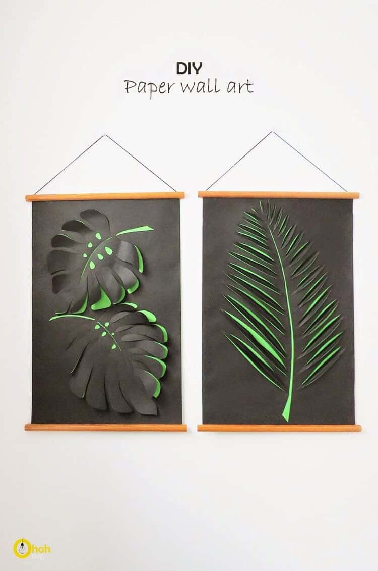 Diy paper leaf wall hangings