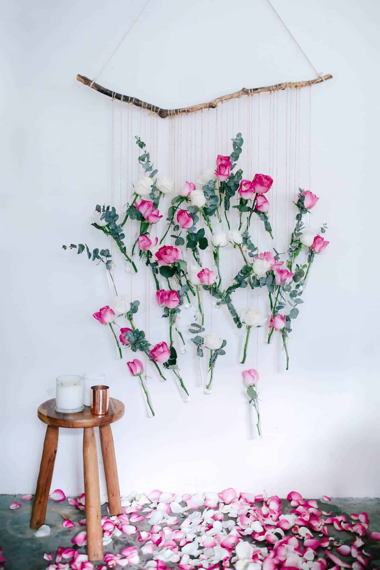 Diy roses and string wall hanging