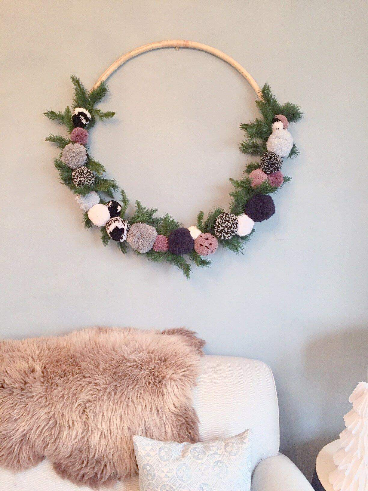 Diy round floral wall hanging
