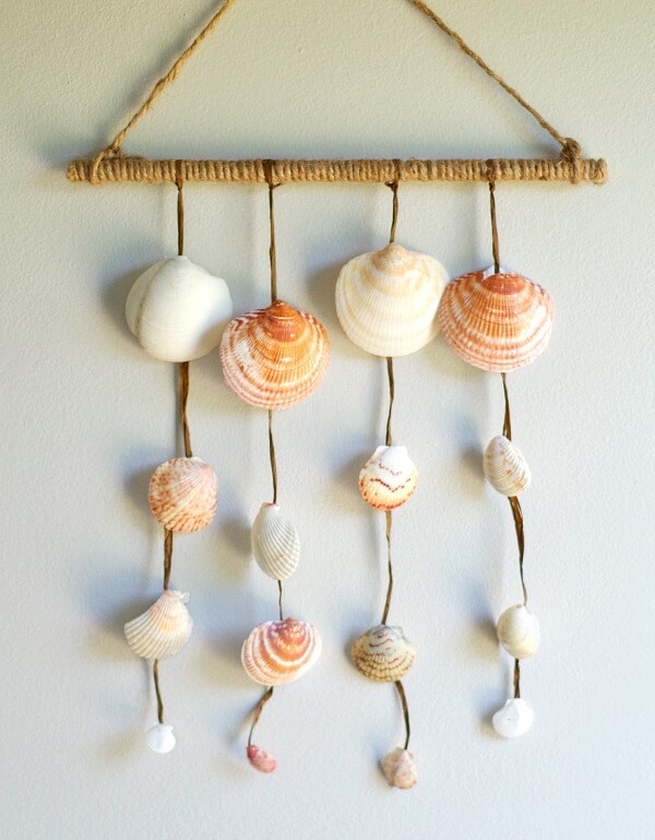 Diy seashell wall hanging