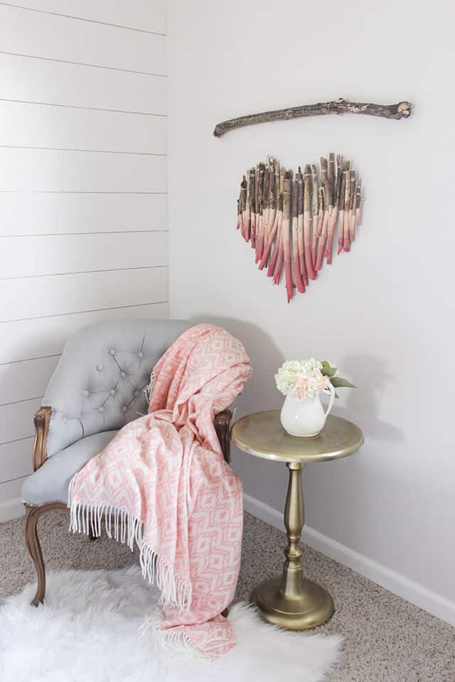 Diy wooden heart hanging