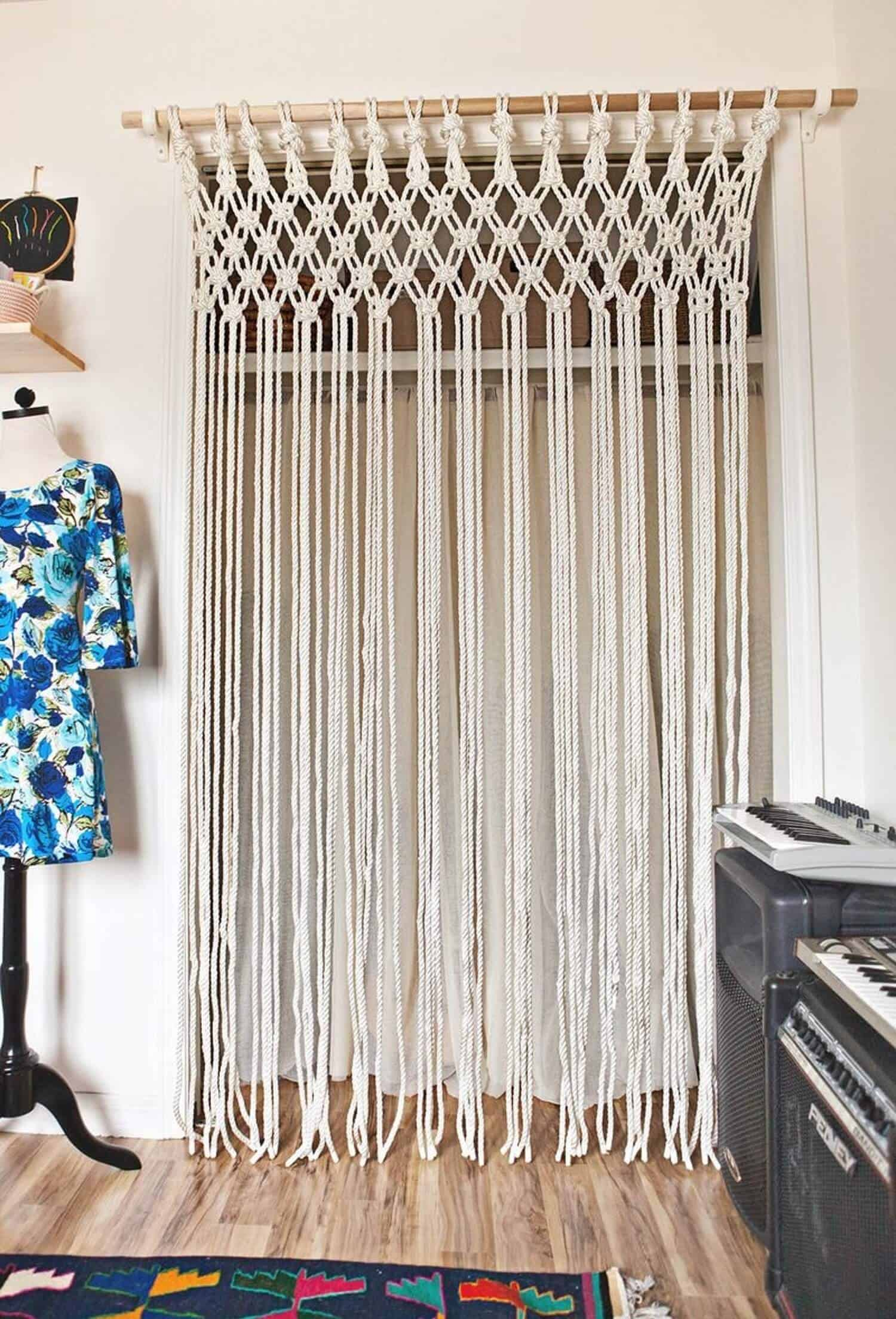 Macrame large wall curtain hanger