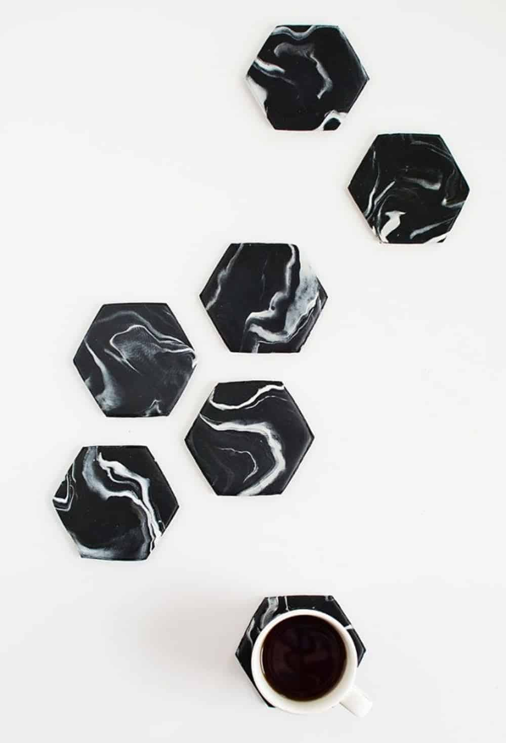 Marble hexagon coasters diy