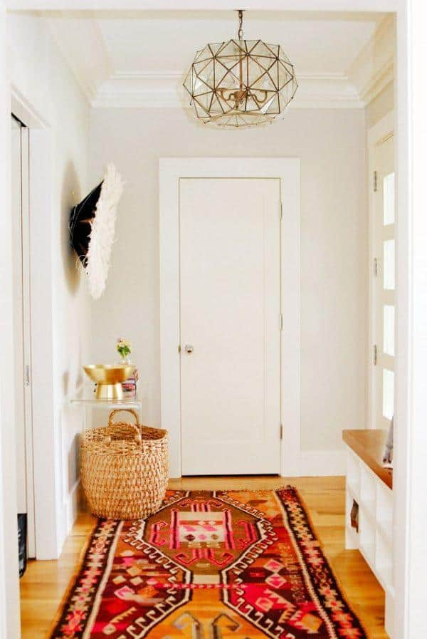 Patterned bohemian rug in hallway feng shui