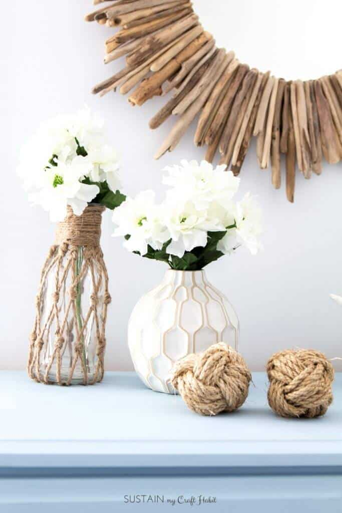 Rope netted bottles diy decor
