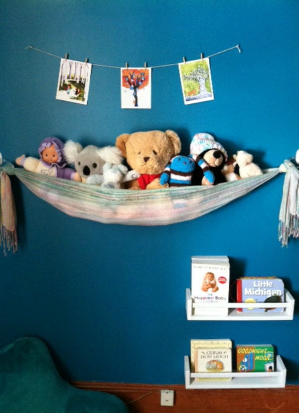 Scarf sling stuffed animal storage diy 2