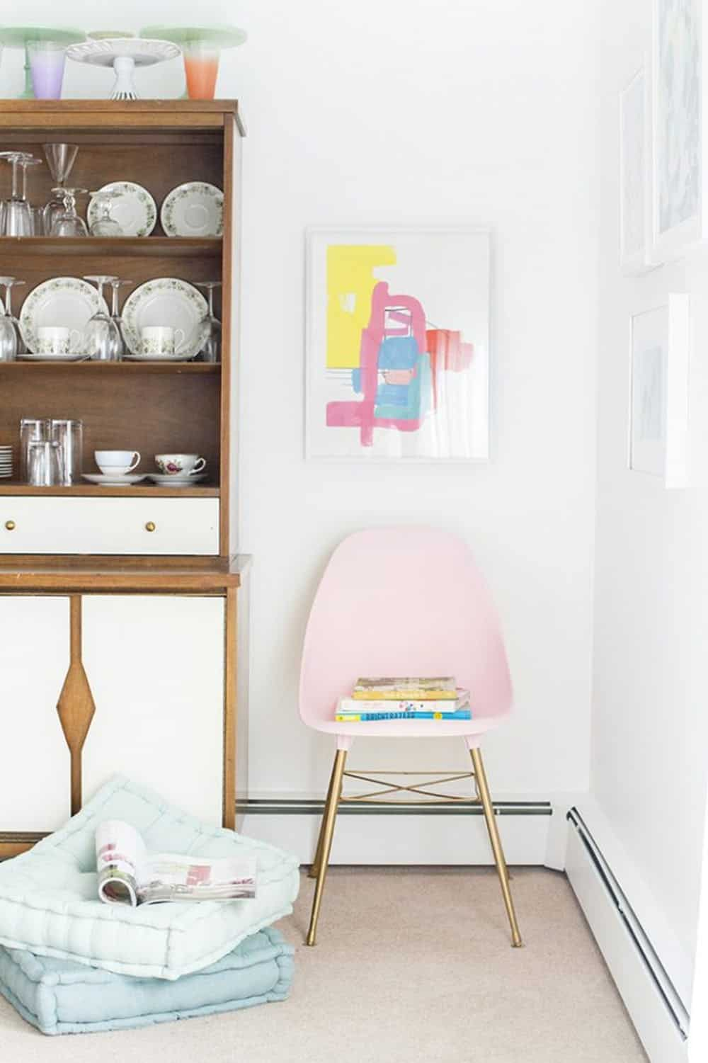 Thrifted blush pink side chair diy modern