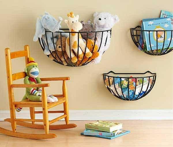 Wall basket stuffed animal storage diy