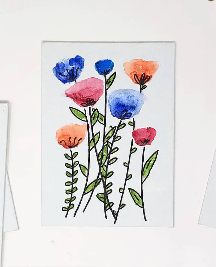 Watercolor floral diy