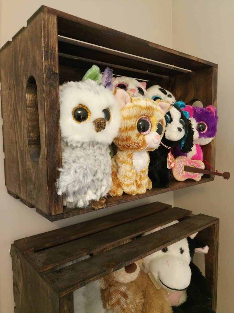 Wooden crate stuffed animal storage diy