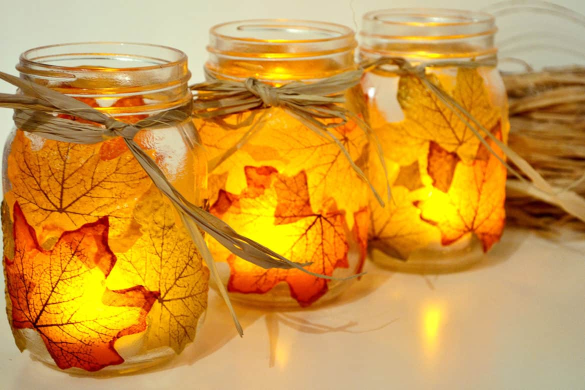 Autumn leaf mason jar candle holder