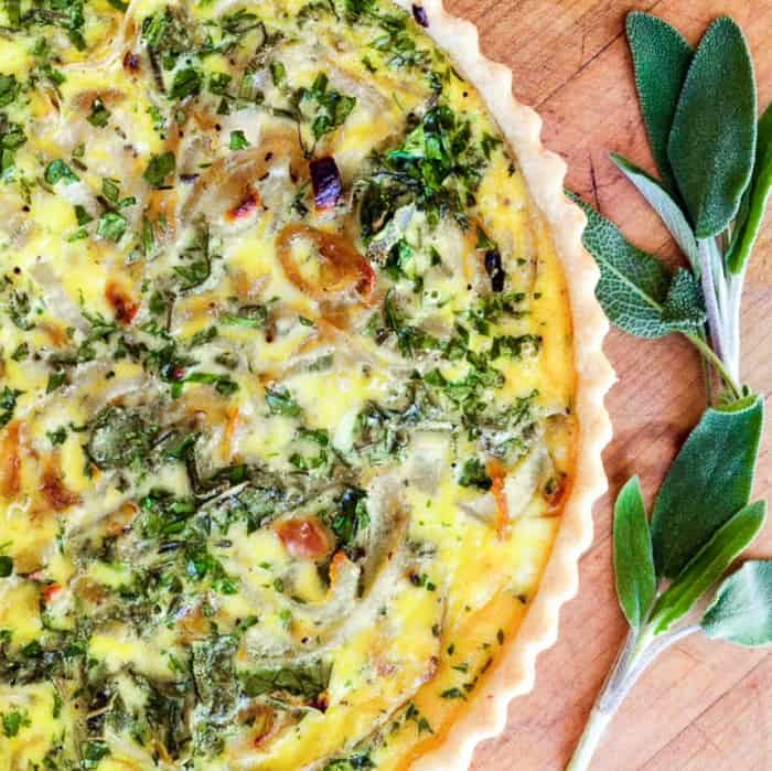 Caramelized onion and goat cheese savory tart