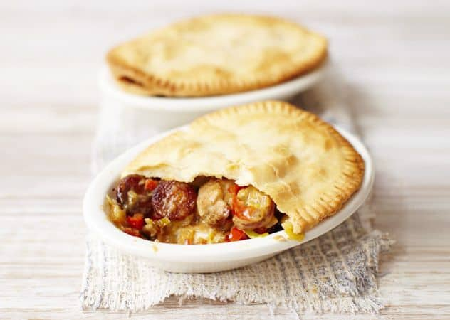 Chicken, chorizo, and cider pot pies