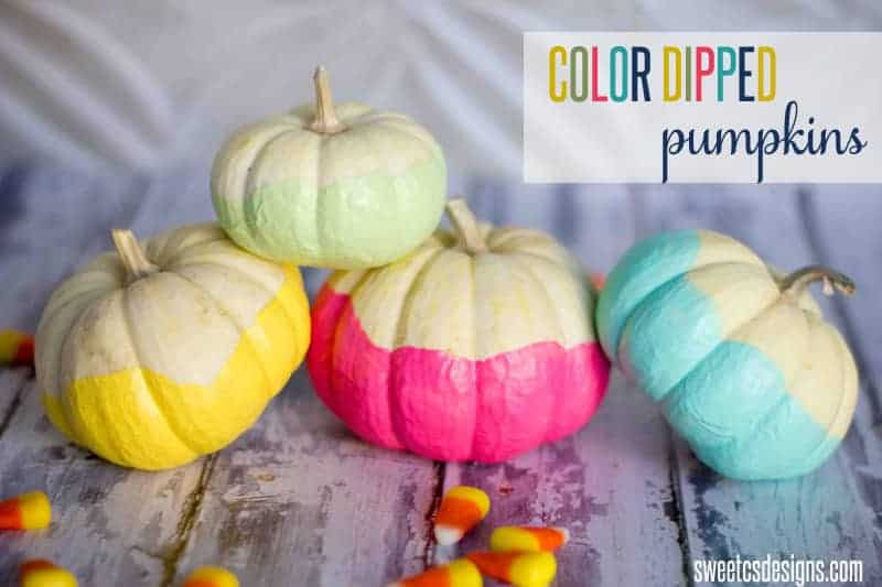 Colour dipped pumpkins