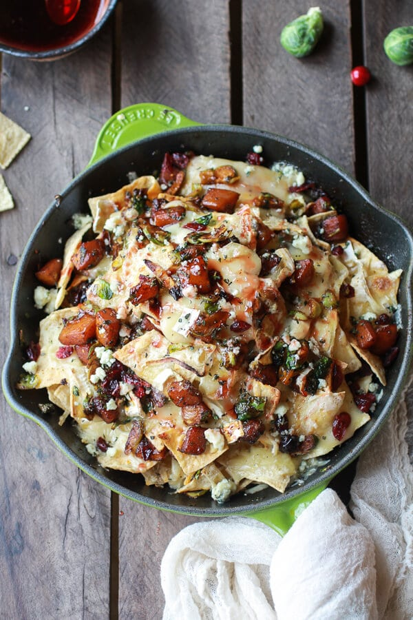 Cranberry, butternut, and brussel sprout brie skillet nachos