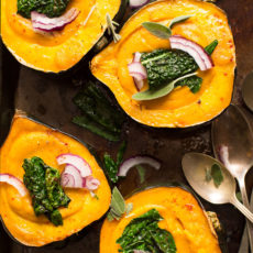 Creamy fall soup in acorn squash bowls