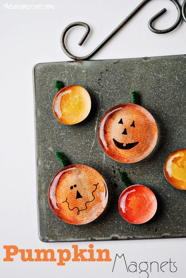 Cute glass marble pumpkin magnets