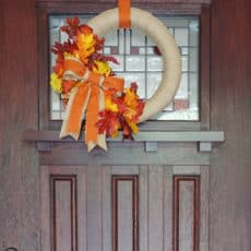 Diy burlap and leaf fall door wreath