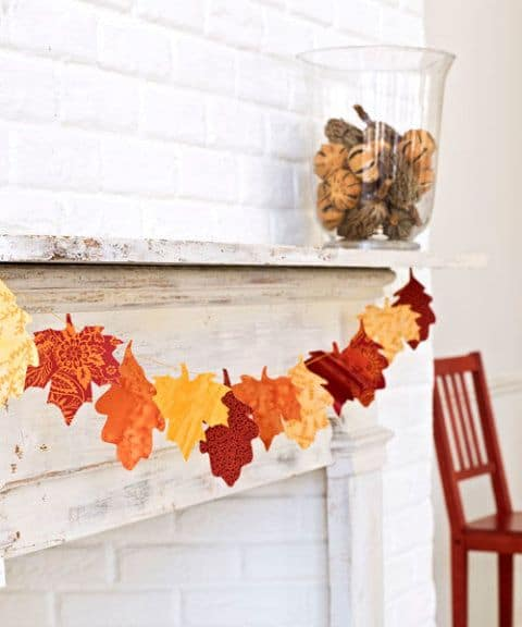 Diy fabric leaf garland