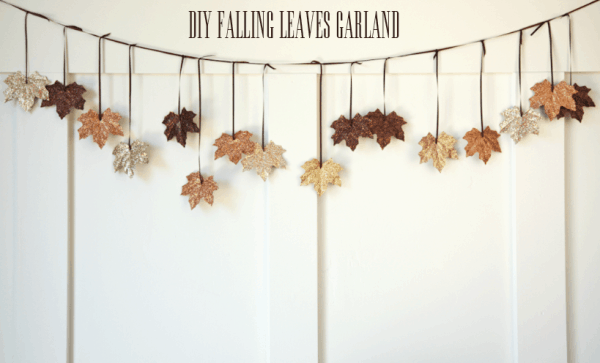 Diy falling leaves glittered garland