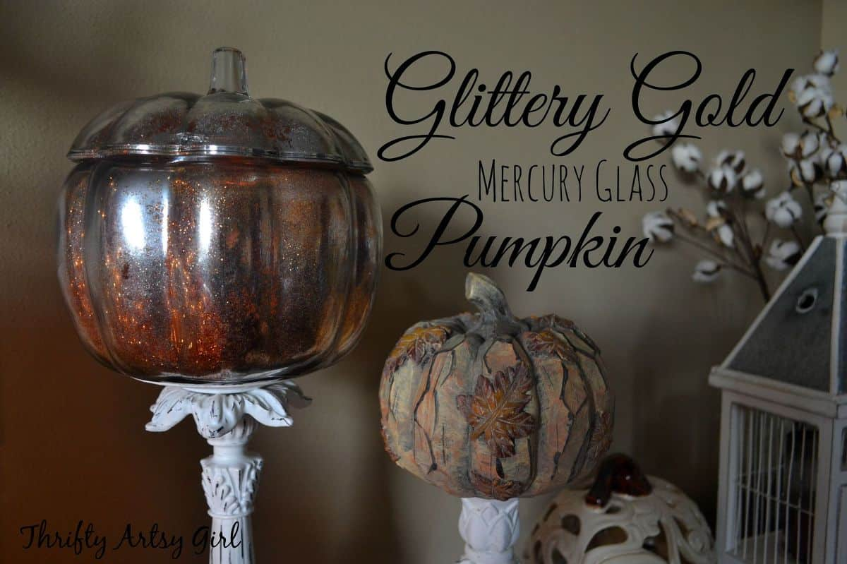 Diy gold glitter mercury glass pumpkins